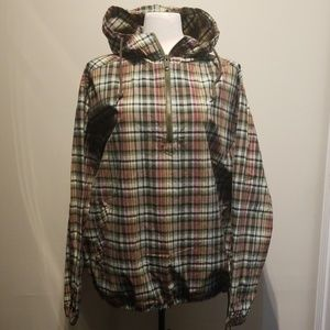 Eddie Bauer Tartan 1/4 Zip Hooded Pullover Jacket